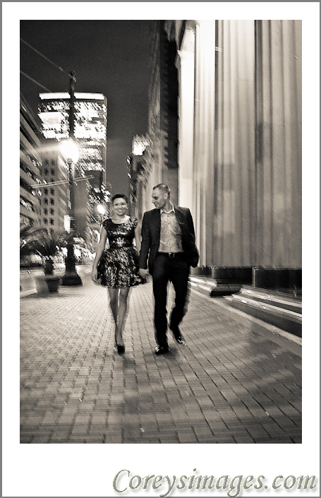 Downtown Houston Engagement Portrait